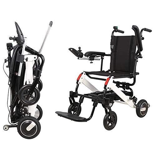 GJJSZ Silla de Ruedas eléctrica, Coche Auxiliar Externo para discapacitados Plegable Doble timón Smart Compacto portátil Ligero Scooter Ligero 20.5KG Puede Conducir 15 km