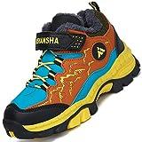 Mishansha Zapatillas Forrado para Niña Trekking Botas de Montaña para Niño Impermeable Botas de Invierno Chico Al Aire Libre Zapatos de Senderismo Hombre Forrado Cálido, Amarillo 32
