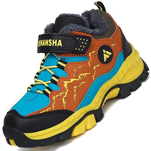 Mishansha Zapatillas Forrado para Niña Trekking Botas de Montaña para Niño Impermeable Botas de Invierno Chico Al Aire Libre Zapatos de Senderismo Hombre Forrado Cálido, Amarillo 34