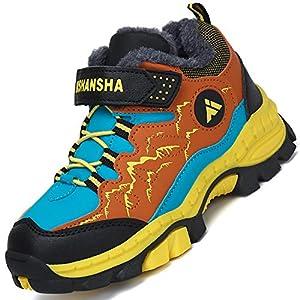 Mishansha Zapatillas Forrado para Niña Trekking Botas de Montaña para Niño Impermeable Botas de Invierno Chico Al Aire Libre Zapatos de Senderismo Hombre Forrado Cálido, Amarillo 26