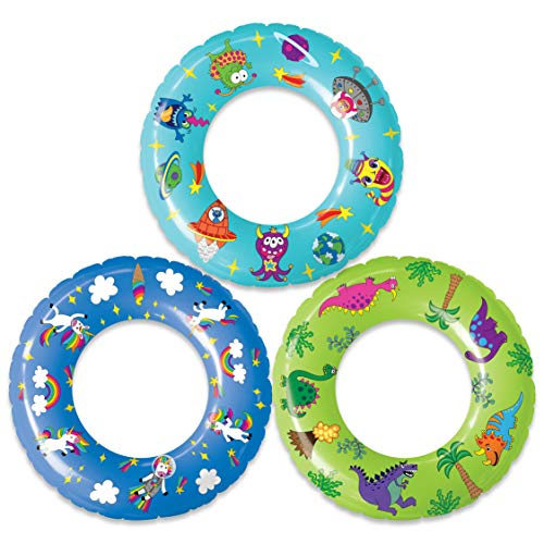 USA Toyz Inflatable Pool Floats for Kids - 3 Pack Pool Rings with Original Designs (Unicorns, Dinosaurs, Aliens)