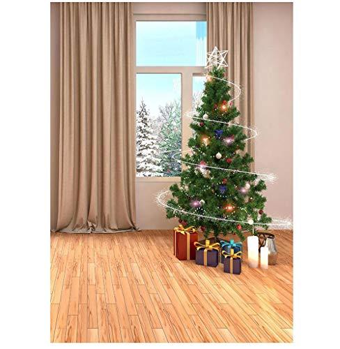 Kerstboom Geschenken Beige Gordijn Fotografische Achtergrond Vinyl Achtergrond Foto Studio voor Kinderen Baby Thuis Fotocall Props 150cmX220cm