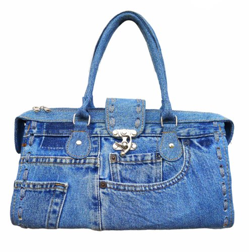 BDJ Classic Blue Denim Jean Doctor Style with Hand Stitching Edge Women Handbag