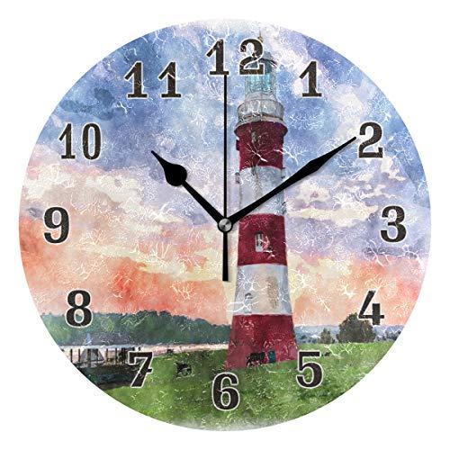 QMIN Wanduhr Kunstmalerei Leuchtturm Druck, runde Uhr, geräuschlos, kein Ticken, leise Uhr für Schlafzimmer, Wohnzimmer, Küche, Büro, Home Decor