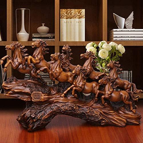 QI-Shanping Estatua de Ocho Caballos Adornos de Resina Feliz Feng Shui Caballo Oficina Escultura de Escritorio Mudanza a un Nuevo hogar Regalo de Apertura de Nueva Tienda / 19.7x6x11.4inches