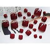 aixu 24 Piezas Uñas Postizas Uñas De Los Pies Uñas Postizas Parche De Desgaste Cuadrado Corto Pies Nail Art J51