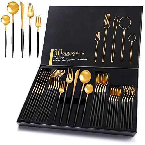HOBO 30 Stück Besteckset mit Geschenkbox, Hohe Qualität Schwarz Golden Besteckset aus Edelstahl Service für 6 Personen, Einschließlich Messer/Gabel/Löffel/Teelöffel/Teegabel