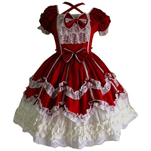Partiss Women's Gothic Princess Cosplay Sweet Lolita Dress S Red