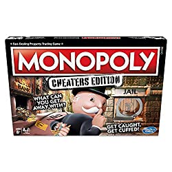 Monopoly game: cheaters edition: follow, bend or break the rules to win the cheaters edition of the monopoly board game. Cheating is part of the game Includes plastic handcuffs: don't get caught this monopoly game includes a plastic handcuff unit tha...