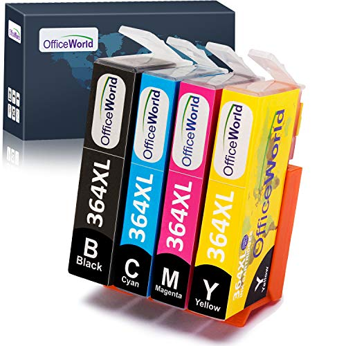 OfficeWorld Reemplazo para HP 364 364XL cartuchos de tinta Compatible para HP Photosmart 5520 7510 5510 7520 5522, HP Officejet 4620, HP Deskjet 3520 3070A (1 Negro, 1 Cian, 1 Magenta, 1 Amarillo)