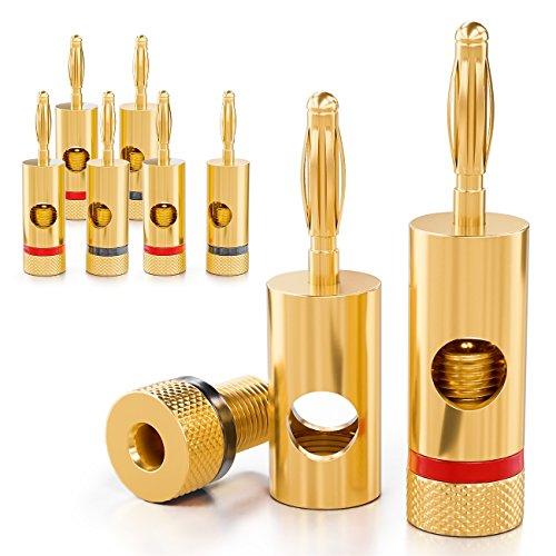 deleyCON 8X Bananenstecker 24K vergoldet und schraubbar für Kabel Boxen Verstärker AV-Receiver Endstufen HiFi Stereoanlagen
