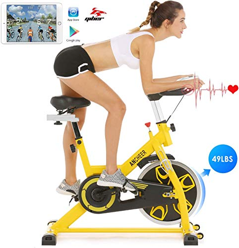 Ancheer Bicicleta de Spinning Bicicleta Estática de Volante de Inercia de 22kg Bicicletas deCiclo Indoor con Conntrol App Resistencia Ajustable y Monitor LCD para Ejercicio en el Hogar (Amarillo)