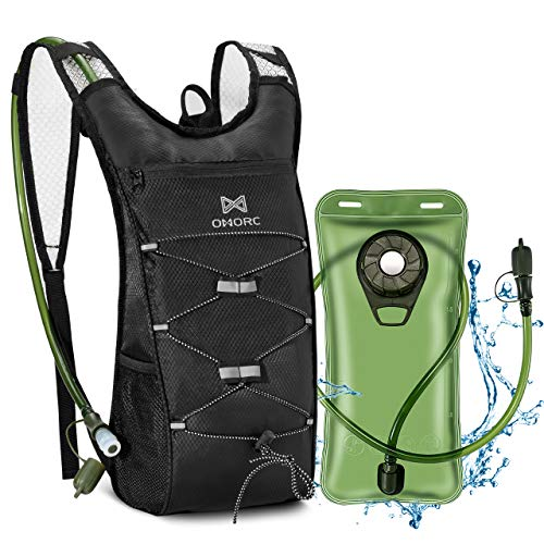 OMORC Hydration Backpack with 2l Water Bladder,Lightweight Running Backpack,High Flow Bite Valve,Hydration Backpack with Storage,Daypack for Hiking Running Cycling Camping Perfect for Men Women & Kids