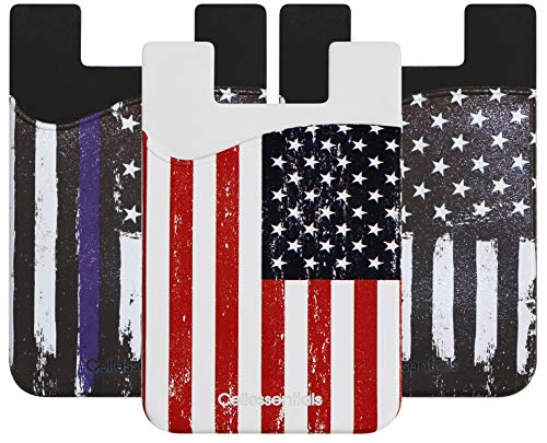 USA Merchant - Cellessentials Redesigned Card Holder - Silicone Stick on Cell Phone Wallet with Pocket for Credit Card ID Business Card - iPhone Android & Smartphones (American Flag/Thin Blue Line)