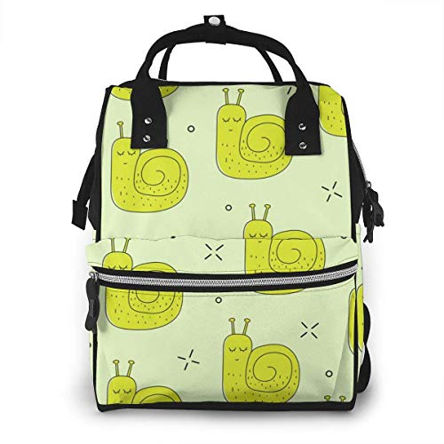 UUwant Sac à Dos à Couches pour Maman Large Capacity Diaper Backpack Travel Manager Baby Care Replacement Bag Nappy Bags Mummy Backpack,(Green Snails Lined Up One After Another