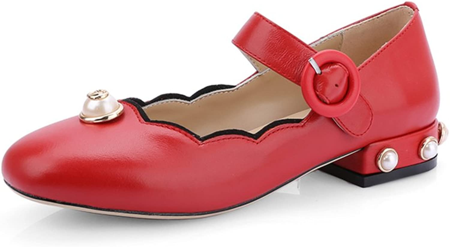 Huhuj Full Cow Pima Lizhen shoes Trend Pearl Low-Heeled Party shoes with Leather with Word