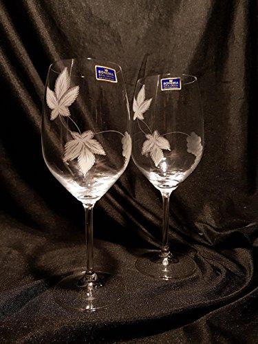 Copas Bohemia Vino Talladas a Mano con Estuche de lujo.(mod. Gourmet talla Uvas): Amazon.es: Handmade