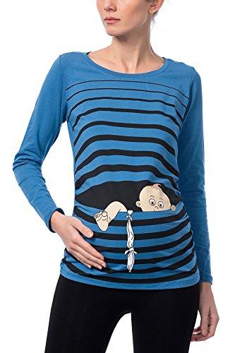 M.M.C. Baby Flucht - Lustige witzige süße Umstandsmode/Umstandsshirt mit Motiv für die Schwangerschaft/Schwangerschaftsshirt, Langarm (Dunkelblau, S)