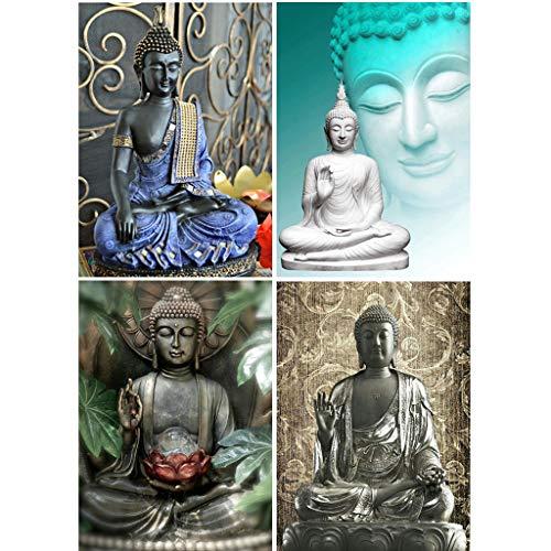 4 Paket Buddha 5d Diy Diamant Malerei Kits Bohren Voll Strass Stickerei Kreuzstich Wohnkultur Handwerk