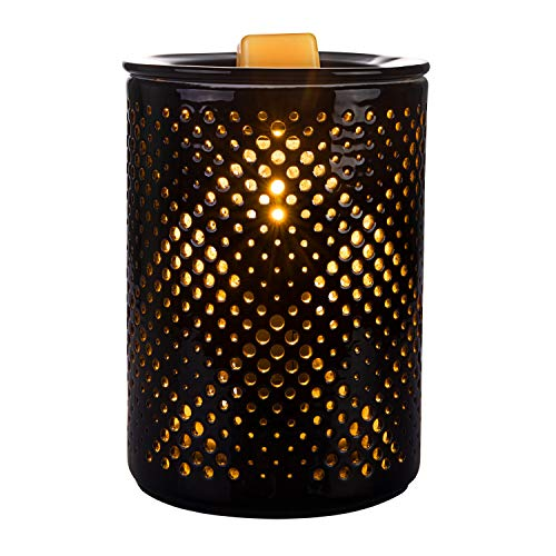 SUNPIN Ceramic Wax Warmer,Black Hollow Electric Fragrance Candle Warmer for Warming Scented Candles,Wax Melts - Spa,Aromatherapy