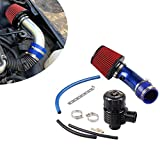 Ruien 76mm口径 アルミ製エアインテークパイプ エアクリーナー付属 25mmブローオフバルブ 吸気効率UP コンパクト 自動車用 汎用 ターボ用 ブルー
