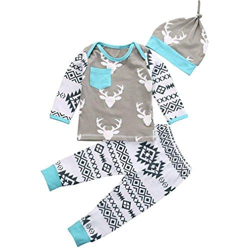 kingko® bébé Kid Filles Boy Vêtements de Noël Cerf Romper T-Shirt + Pantalons Manches Longues Chapeau Costumes Outfit (90)