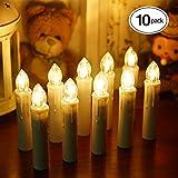 Samoleus 10 Stück Weihnachtskerzen Lichterkette, Weihnachts Kerzen Kabellos mit Fernbedienung, Wasserdichte Christbaumkerzen LED Kerzenlichter Kabellos für Weihnachtsbaum Hochzeit (Warmweiß - 10er)