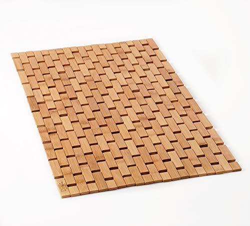 Natural Bamboo Wood Bath Mat, Door Mat and Kitchen Rug - Boho Accessories for Bathroom, Sauna, Tub, Shower Doorstep and Textured Floor (Bamboo Lattice, Large 16x27 Inch)