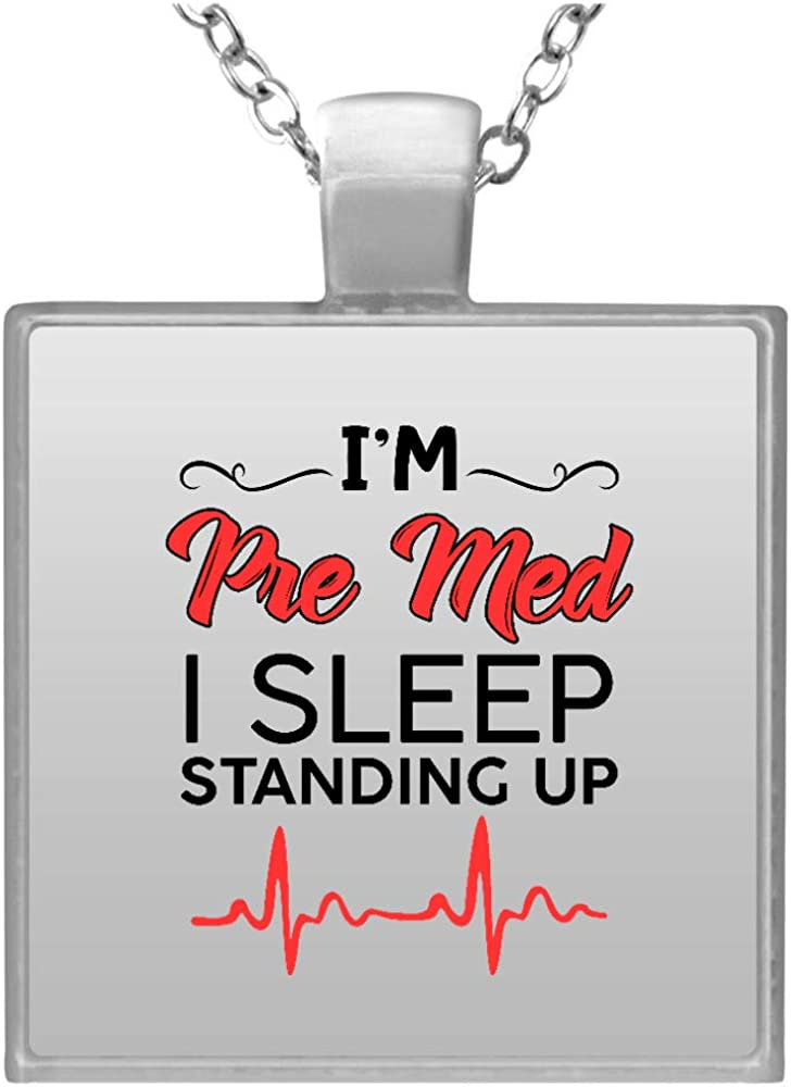 Iâ€m Pre Med I Sleep Square Up Standing New Free Shipping 2021 spring and summer new Necklace