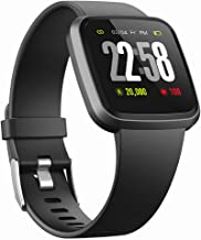 V12C Fitness & Health 2in1 Smart Watch with All-Day Heart Rate Blood Pressure Sleep Monitor Activity Tracker Smartwatch with Color Screen IP68 Waterproof Compare with Android & iOS Phones (Black)