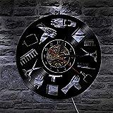 UIOLK Diseño de Herramientas de barbero Disco de Vinilo Reloj de Pared Moda salón de Belleza peluquería Reloj de Arte de Pared peluquería Regalo para peluquería