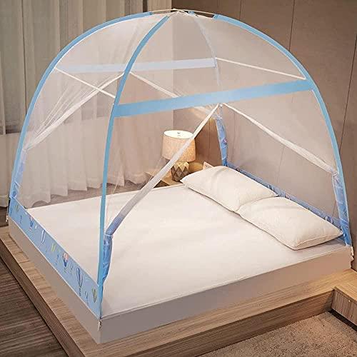 Castellones de cama sin instalaciones y cortinas de doble puerta de doble puerta de la puerta de mosquiteros engrosados de la tienda de mosquitos de yurta encriptada-1.5m (L79 '' x W59 '' x H57 '')