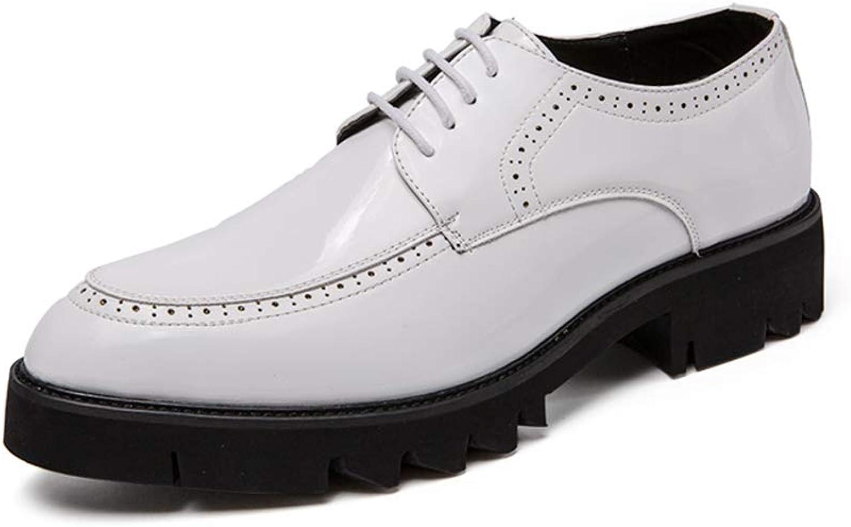 Patent leather Men's fashion shoes Oxford shoes thick non-slip vents tie casual low-cut belt outsole patent leather formal shoes Formal wear Dress shoes (color   White, Size   8.5 UK)