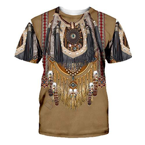Camiseta de Manga Corta con Estampado de tótem Indio para Hombre Camiseta Suelta Informal de Verano