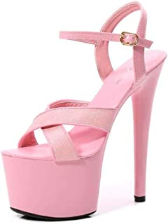 Women's Candy Color PlatformSandals,Ladies Buckle Chunky Heel Sandals,Summer Stiletto OpenToe Sandals Flanging Pumps Shoes