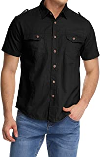 Mesinsefra Men's Synthetic Solid Short Sleeve Military Button Down Shirts