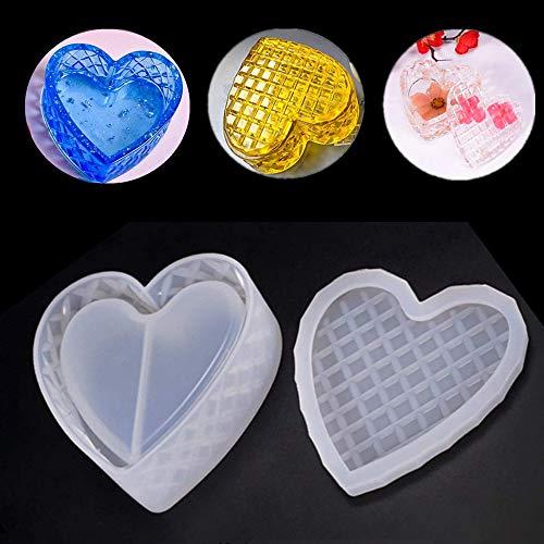 Moldes de resina epoxi de silicona moldeada en forma de corazón para joyas, caja de almacenamiento, para boda, baby shower, cumpleaños, regalo de Navidad, hecho a mano