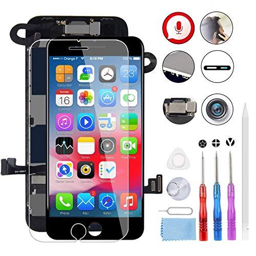 MeetDream Für iPhone 8 Display Schwarz, Ersatz Für LCD Touchscreen Digitizer vormontiert mit Hörmuschel, Frontkamera, Nöherungssensor, Komplett Ersatz Bildschirm mit Werkzeuge