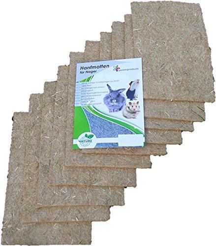 pemmiproducts Tapis pour rongeurs en Chanvre, 40x25cm, épaisseur 5mm, Lot de 10 (EUR 2,75/pièce). Tapis en Tant Que pour Les Lapins, cochons d'Inde, Hamsters, dègues, Rats et d'autres rongeurs.