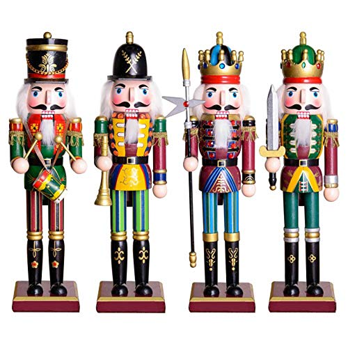 Anaric-Tih 4Pcs Christmas Nutcracker, 30CM Ornament Wooden Nutcracker Soldier Figurines Christmas Hanging Ornament Xmas Tree Decoration Party Supplies