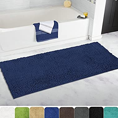MAYSHINE Non-slip Bathroom Rugs Shag Shower Mat Machine-washable Bath mats runner with Water Absorbent Soft Microfibers - 27.5x47 inch Navy Blue