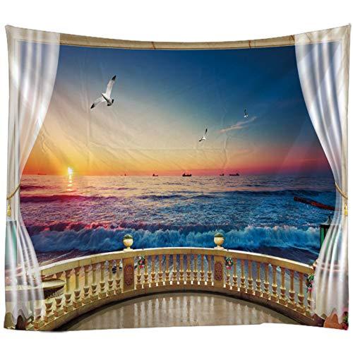 KHKJ Sunset Seascape Impresión 3D Tapiz Colgante de Pared Decoración de Pared Alfombra Sábana Bohemia Hippie Decoración para el hogar Sofá Throw A1 200x180cm