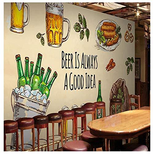 XQFZXQ Murale 3D Ristorante Fast Food Birra Grigia carta da parati Moderno Arte sfondo Decorazione PVC Autoadesiva Vintage Barbiere Capelli Salone bellezza Chiodo Vento industriale sf(W)350x(H)256cm