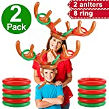 iGeeKid 2Pack Inflatable Reindeer Antler Ring Toss Game for Christmas Party Supplies Xmas Target Game Toys Christmas Stock Stuffer Christmas Party Games (2 Antlers 8 Rings)