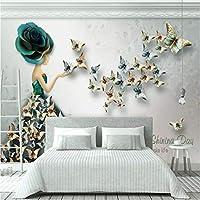 カスタム写真壁紙3Dステレオエンボスバタフライフラワーアート壁画リビングルームソファ寝室家の壁の装飾壁画
