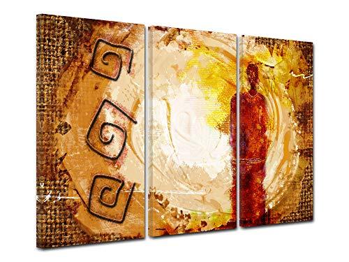 DECLINA - Cuadro Africano, decoración de Pared, Marco Africano para salón, Lienzo Impreso, diseño étnico, 90 x 60 cm, Lona, marrón, 150x100 cm
