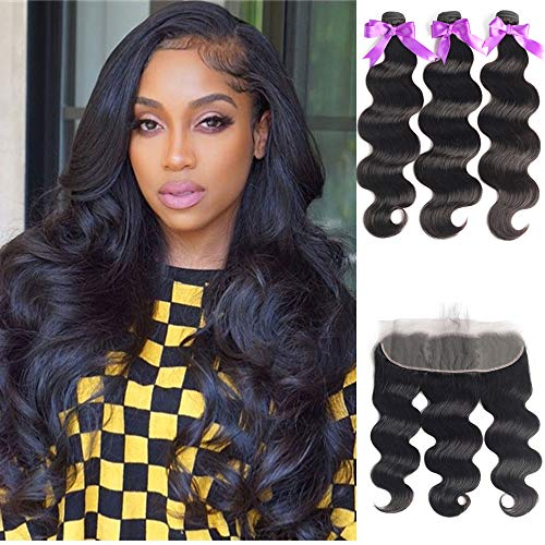 Beaudiva Hair Body Wave Bundles with 13×4 Lace Frontal (18 20 22+18 inch) Unprocessed 8A Brazilian Body Wave Human Hair Double Weft with Lace Frontal 13×4 Free Part…