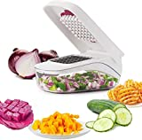 D L D Picador de verduras Vegetales Chopper de Alimentos y Dicer Cortador de cebolla Chopper Cortador de verduras Patata Frutas Picador (Blanco)