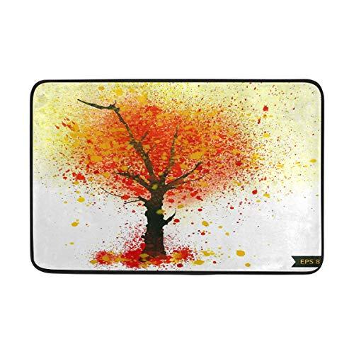 Kcldeci - Felpudo para puerta de interior, diseño de árbol de otoño, 60 x 40 cm, con hojas de arce y calabaza, para entrada, bienvenida, para cocina, baño, decoración del hogar