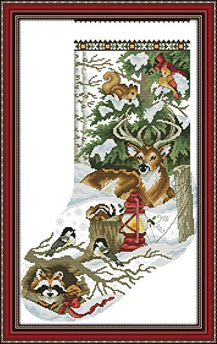 YEESAM ART Cross Stitch Kits Stamped for Adults Beginner Kids, Christmas Stockings Deer Birds Animal 11CT 43×68cm DIY Embroidery Needlework Kit with Easy Funny Preprinted Patterns Needlepoint